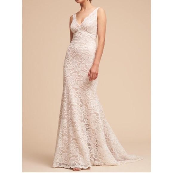 BHLDN Dresses | Eddy K Romantic Chantilly Lace Bridal Gown | Poshmark